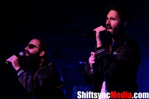 Photo Credit: Bryce Fraser Ryan Merchant right, and Sebu Simonian left both lead vocalists for Capital Cities singing to their audience at the Ace Of Spades Venue in Sacramento, CA